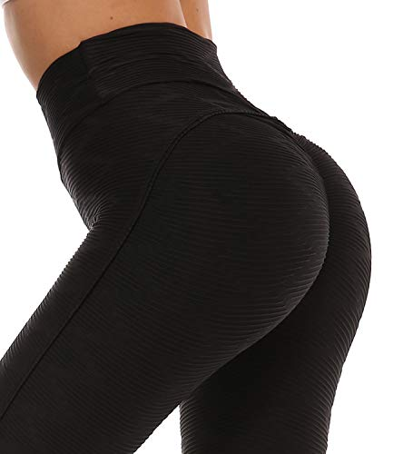 DUROFIT Pantaloni Sportivi Donna Yoga a Nido d'Ape Calzamaglie Leggings Fitness Palestra Collant Allenamento Leggings Nero L