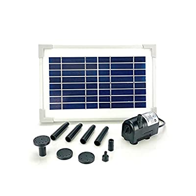 AEO Solar Water Pump Kit: 8V DC Brushless Submersible 55GpH Water Pump w/ 3.5W Solar Panel for Bird Bath, Fish Tank, Small Pond, Garden Decoration, Water Circulation for Oxygen (No Backup Battery)