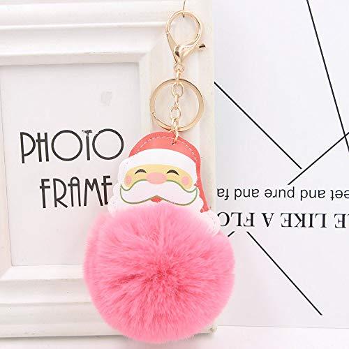 HNLY Santa Claus Ball Keychain PU Leather Plush Christmas Keychain Llavero del Coche Colgante (4 Piezas) D8Cm