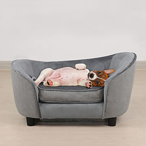 Pet Sofa Bed, Velvet & Linen Fabric Pet Couch Chair with Removeable & Washable Cushion for Small Dogs Cats (Light Gray)