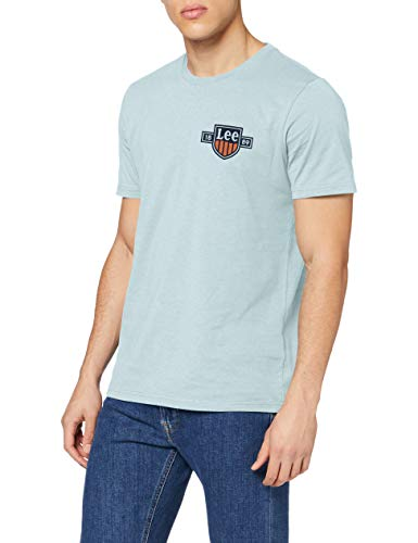 Lee Chest Logo tee Camiseta, Sterling Blue, S para Hombre