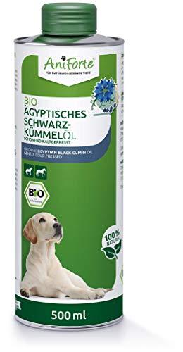 AniForte Bio Ägyptisches Schwarzkümmelöl für Hunde & Pferde 500ml - Kaltgepresst, 100{7558d6a70b1acf8ee18e814493911a49fba4a974c6ea7a880366d657ed108362} naturbelassenes Schwarzkümmel Öl, Barf Zusatz in Premium Qualität, Recyclebare Verpackung ohne BPA