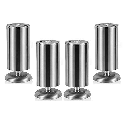 4 patas de muebles de metal, altura ajustable, de acero inoxidable, para mesa de café, cocina, escritorio, patas redondas, patas para muebles, patas de mesa con tornillos libres, plateadas, 20 cm