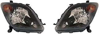 Fits Scion xA 2004-2005 Headlight Assembly Unit Black Bezel Pair Driver and Passenger Side