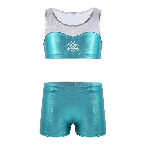 iiniim 2 Pcs Tankini Niña Ropa Deportiva Danza Top Camiseta sin Mangas Brillante Nieve Chaleco Deporte Pantalones Cortos de Gym Fintess (4-12 años) Azul 6 Años