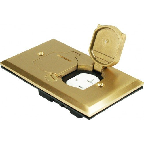 Orbit Industries FLB-D-C-BR Flip Type Floor Box Cover Only with Duplex Receptacle, Tamper Resistant, Brass