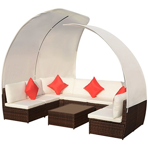 vidaXL Gartenmöbel 9-TLG. mit Sonnendächern Sitzgruppe Lounge Rattanmöbel Sitzgarnitur Sofa Gartensofa Sofagarnitur Poly Rattan Braun