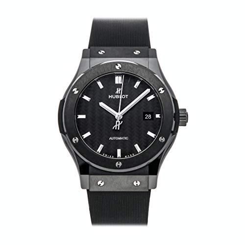 Hublot Classic Fusion - Reloj automático de fibra de carbono negro con esfera de caucho negro para hombre 542.CM.1771.RX