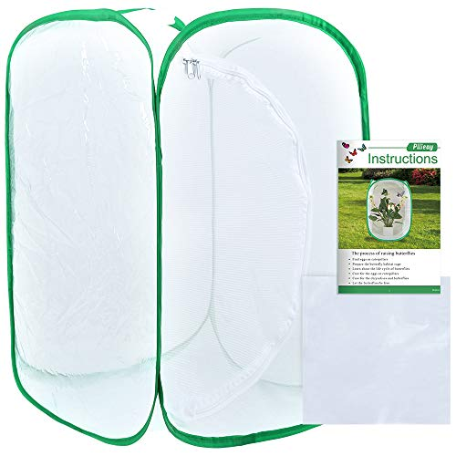 Pllieay 36 Inch Tall Large Butterfly Habitat Cage with an Instructions and PVC Floor Covers, Collapsible Terrarium Pop-up 24 x 24 x 36 Inches White Insect and Butterfly Net for Raising Inserts