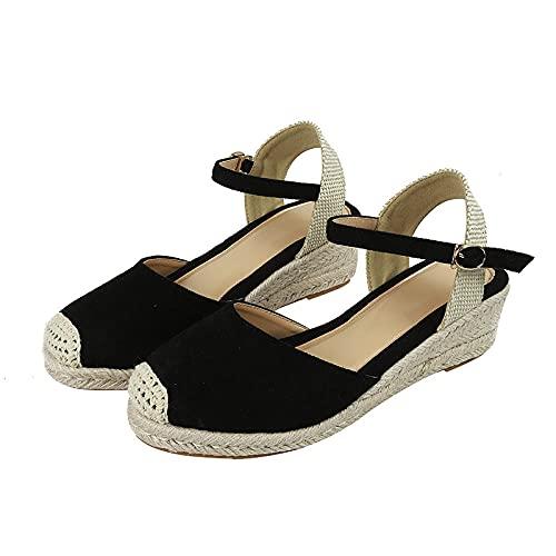 ZZLHHD Sandalia Mujer Plataforma Casual de Yute,Zapatos Gruesos con Hebilla, Sandalias Planas de Cabeza Redonda-Negro_39,Zapatilla de Plataforma con cuña para Mujer Sandalias
