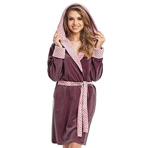 DOROTA Bademantel mit Kapuze Damen Saunamantel für Frauen Baumwolle Morgenmantel Flauschig Kurz Warm Leicht (M, Violett)