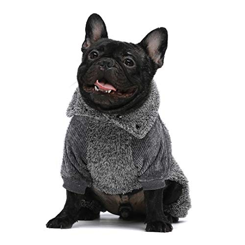 Fitwarm Fuzzy Thermal Turtleneck Dog Clothes Winter Outfits Pet Jumpsuits Cat Coats Velvet Grey XS