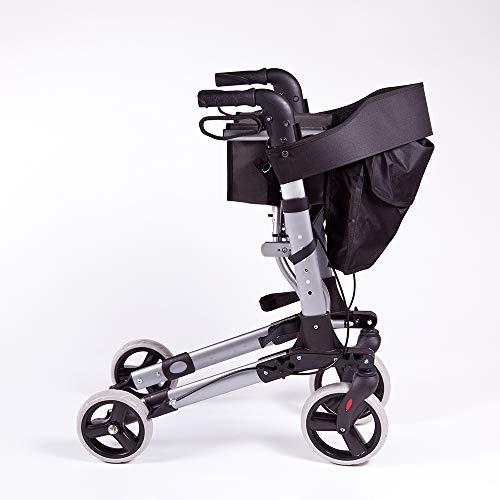 Rollator in Alluminio Pieghevole Deluxe - Deambulatore per Anziani con 4 ruote, sedile e freni