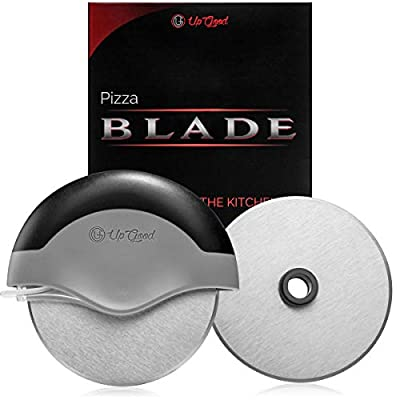 Pizza Cutter   Super Fast Slicer   2 Sharp Blades   Round Soft Grip, Safety Cover & Stainless Steel Wheel   Cut, Slice and Clean with Ease (UpGood Kitchen Gadgets, Pitch Black)