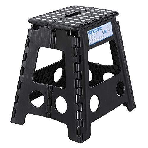 Folding Step Stool 15 Inch, 2 Pack Portable Foldable Step Stool Holds Up to 330 lbs, Sturdy Enough for Adults and Safe for Kids, Lightweight with Handgrip, Anti-Slip, Bathroom, Garden Stepping Stool