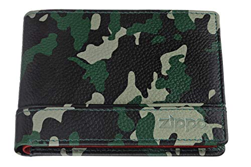 Zippo Lether Tri Fold Wallet Monedero 11 Centimeters Verde (Green Camouflage)