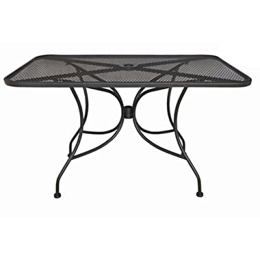 Oak Street Manufacturing OD3048 Rectangular Black Mesh Top Outdoor Table, 48  Length x 30  Width