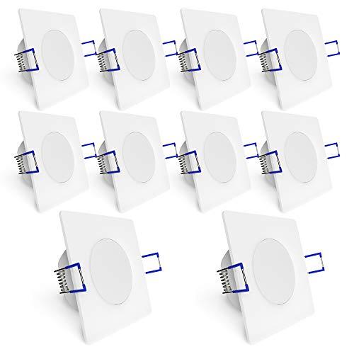 linovum WEEVO 10x Einbauspots LED eckig extra flach IP44 für Bad Außen - 10er Set Spots 230V weiß 5W 4000K Einbautiefe 29mm