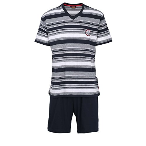 Ceceba Herren Shorty, Kurzarm, Baumwolle, Polyester, Single Jersey, Navy, gestreift 52