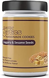 Healthy Oaties Cookies Handmade Jaggery Oats and Sesame Cookies (255 gm)-No Refined Flour,No Refined Sugar,Wheat Free