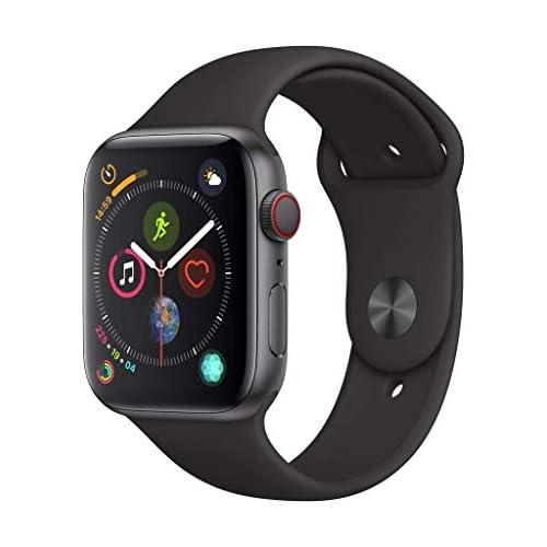 AppleWatch Series4 (GPS + Cellular) cassa 44mm in alluminio grigio siderale ecinturino Sport nero