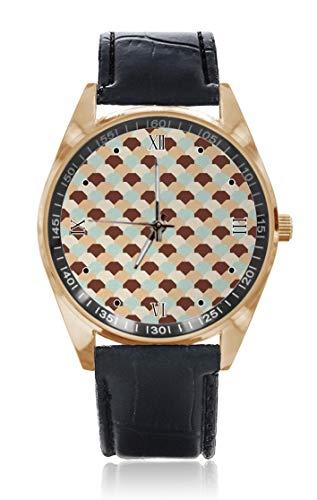 Choeter Armbanduhr, gewebtes Kammgitter, sechseckig, geometrisch, Retro-Fliesen, personalisierbar, für Herren und Damen, wasserdicht, Edelstahl, Quarz-Armbanduhr mit austauschbarem Lederband