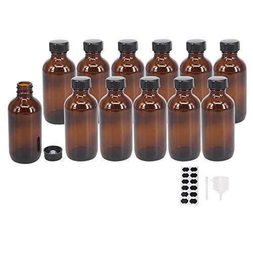 4 oz Amber Glass Bottle with Black Poly Cap