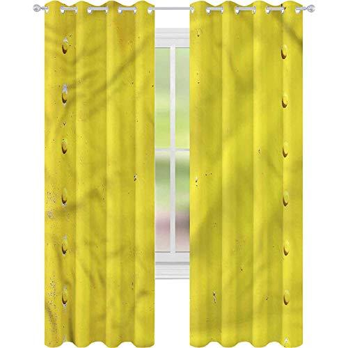 Cortina opaca para ventana de color amarillo, con placa industrial (42 x 72 cm), color amarillo