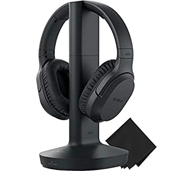 Sony Wireless RF Home Theater TV Headphones with Transmitter - 150-ft Wireless Range Up to 20 Hours of Play Time  Black  & Zonoz Microfiber Cleaning Cloth Bundle