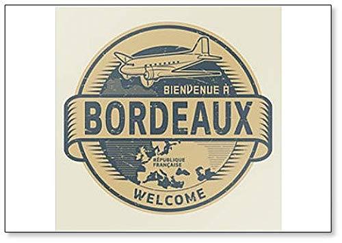 Postzegel Illustratie met Vliegtuig en Tekst Welkom in Bordeaux, Frankrijk Koelkast Magneet