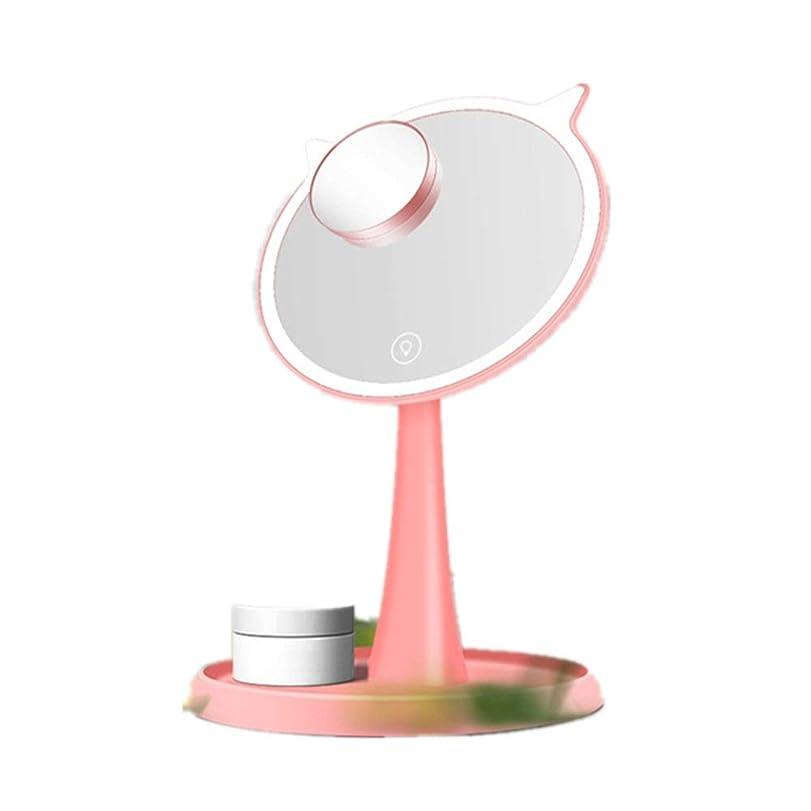 傑出したスピンラベ化粧鏡 LEDライト、取り外し可能な10倍拡大鏡スポットミラー、明るさの設定と45°回転させながら化粧化粧鏡 - ドレッシングテーブルとポータブルでパーフェクト (色 : ピンク, サイズ : 15cm)