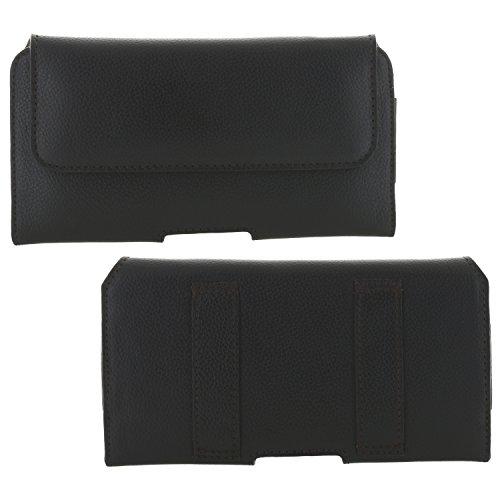 XiRRiX Handytasche Gürtel Leder 2.2 3XL Tasche quer kompatibel mit Apple iPhone 12/12 Pro - Huawei P30 P40 / Samsung Galaxy A20e A41 S8 S9 S10 S10e Xcover 4s 5 - Smartphone Gürteltasche schwarz