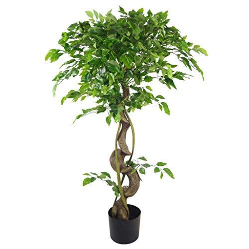 Leaf 120cm Trunk Artificial Japanese Fruticosa Style Tree, Twisted Ficus, (4ft)