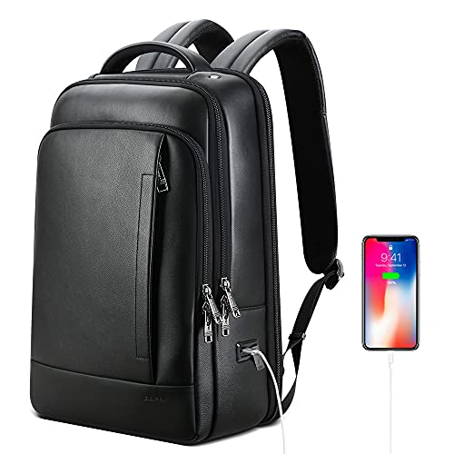 BOPAI Genuine Leather Backpack for Men Multi-Function Backpack 15.6 inch Business Laptop Backpack Travel Smart Rucksack with USB Charging Anti Theft Backpack Office Black …