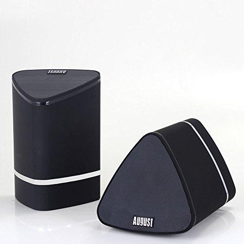 Coppia di Altoparlanti Stereo Bluetooth Portatili Stereo - August MS625 –True Wireless 2x5W Altoparlanti Senza Fili per Smartphones, Tablets, TV, PC e Lettori MP3 – Batteria Interna Ricaricabile