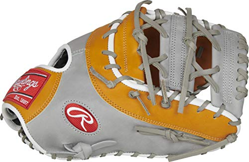 Rawlings Heart of The Hide Anthony Rizzo Gameday Model First Base Baseball Glove, Grey/Tan, 12.75 inch, Horizontal Bar X-Lace Web, Right Hand Throw