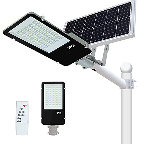 300W Solar Street Light Outdoor Dusk to Dawn LED Solar Light Outdoor IP65 Waterproof with Remote Control Security Lighting 30000 Lumens Flood Light Solar Powered for Yard,Street, Basketball Court.