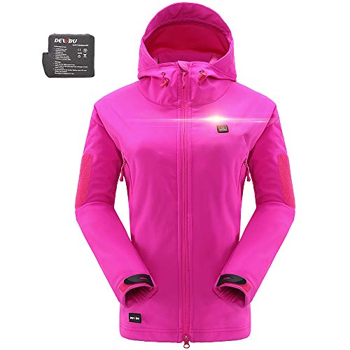DEWBU Heated Jacket Outdoor Soft Shell Heating Clothing with 7.4V Battery Pack Rose Red