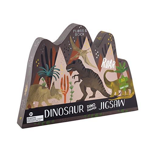 Floss & Rock Rompecabezas de 80 Piezas con Forma de Dinosaurio, Color Negro Medianoche 16 x 13