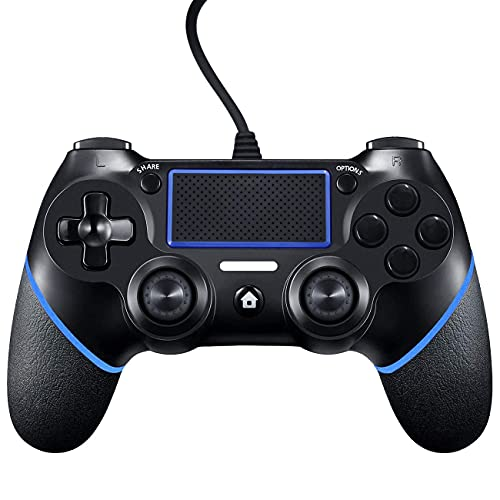 PS4 Controller Wired ,Controller für PS4, PS4 Controller Wired Gaming Gamepad mit Dual-Vibration Joystick Gamepad für PS4/PS4 Slim/PS4 Pro und PC(Windows 7/8 /10)