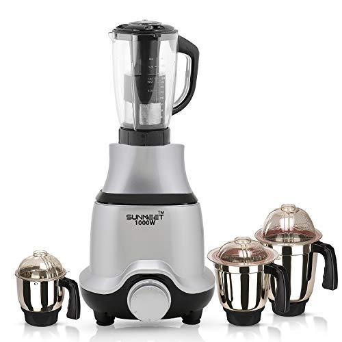 Sunmeet BUTSLV21 1000-Watt Mixer Juicer Grinder with 4 Jars -1 Juicer Jar, 1 Wet Jar, 1 Dry Jar and 1 Chutney Jar, Silver Make in India (ISI Certified)