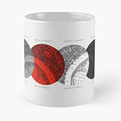 FitinC Una Mas Agos Adsom Schwab Magia Sombras Luz of Oscura Victoria Magic Concilio Shades De Conjuro Acol Best Mug Tiene 11oz de Mano Hechas de cerámica de mármol Blanco