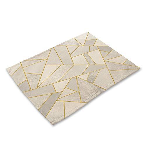 NCKLY Marmol geometrico Impreso Algodon Lino Cocina Mantel Mantel Mesa de Comedor Estera Posavasos Almohadillas Taza Esteras 42 * 32 cm Decoracion del hogar