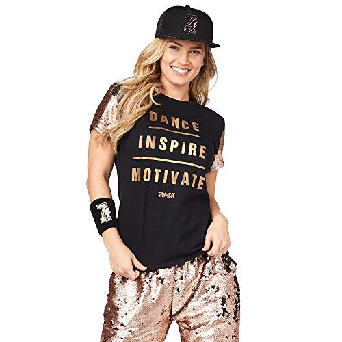 Zumba Camiseta de Entrenamiento Transpirable con diseño gráfico para Mujer X-Pequeña Negro