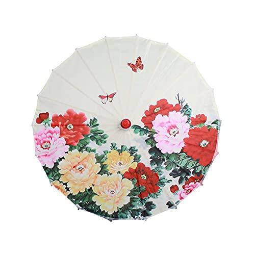 Art Umbrellasilk Paño Paraguas Clásico Estilo Decorativo Paraguas Papel de Aceite Pintado Parasol Paraguas (Color : A8)