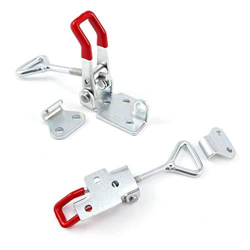 2 abrazaderas de metal con cierre de liberación rápida 4002 184 kg de capacidad de sujeción, cierre de botón.