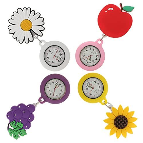 UKCOCO 4 Pzas Reloj de Solapa para Enfermera Retráctil Extensible Reloj de Enfermera con Clip de Fruta de Segunda Mano de Dibujos Animados Reloj de Bolsillo de Solapa Médica para 2021