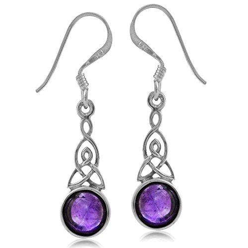 Silvershake Cabochon Amethyst 925 Sterling Silver Triquetra Celtic Knot Dangle Hook Earrings