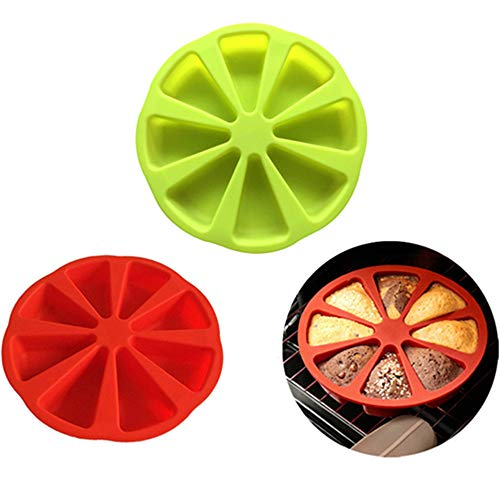 2 Pcs Baking Molds Triangle 8 Cavity Silicone Scones Pan Silicone Portion Cake Mold,Triangle Cake Pan,Soap Mould Pizza Slices Scone Baking Pan( Red and Green )