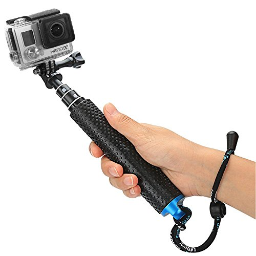 Foretoo Selfie Stick for GoPro,19Waterproof Hand Grip Adjustable Extension Monopod Pole for Gopro Hero 6 5 4 3+3 2 1 AKASO, Xiaomi Yi,SJCAM SJ4000 SJ5000 SJ6000 (with Wrist Strap and Screw)